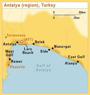 Map of Antalya, Turkey