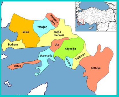 Map of Mugla, Turkey